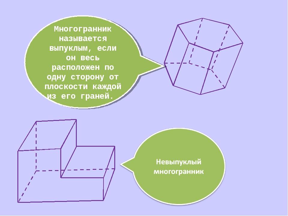 Многогранник называется выпуклым, если он весь расположен по одну сторону от...