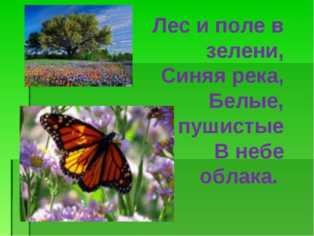 Лес и поле в зелени, Синяя река, Белые, пушистые В небе облака.