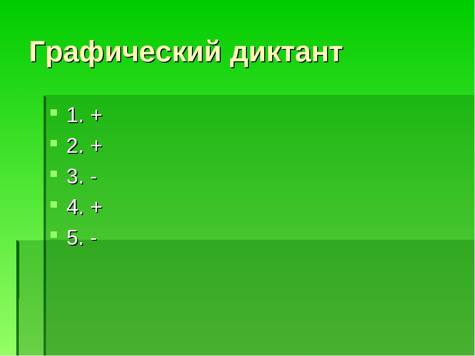 Графический диктант 1. + 2. + 3. - 4. + 5. -