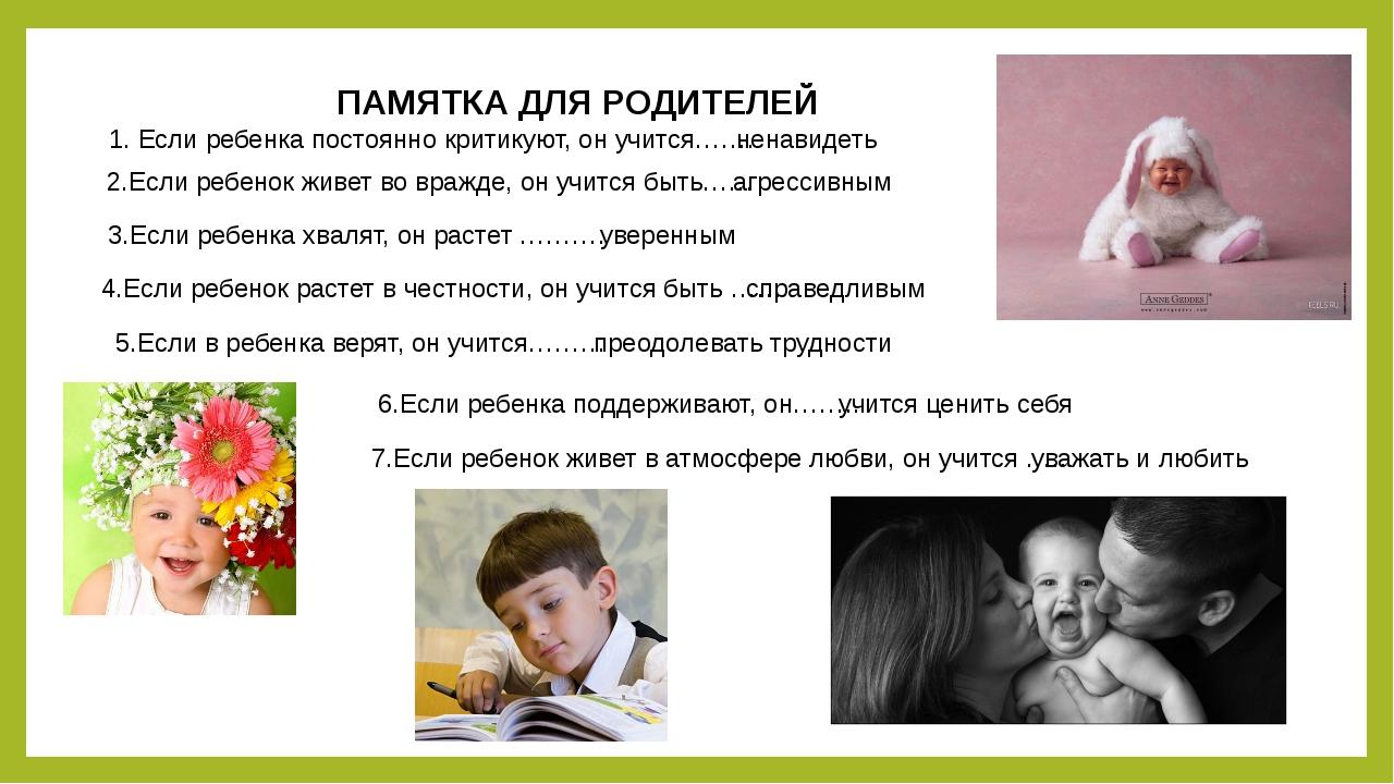 ПАМЯТКА ДЛЯ РОДИТЕЛЕЙ 1. Если ребенка постоянно критикуют, он учится……. ненав...