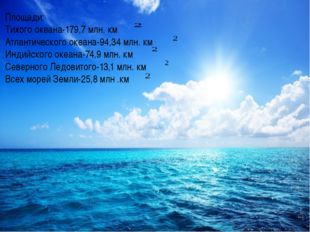 Площади: Тихого океана-179,7 млн. км Атлантического океана-94,34 млн. км Инди