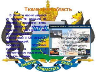 Тюменская область В области насчитывается 29 городов, 38 районов, 34 поселка