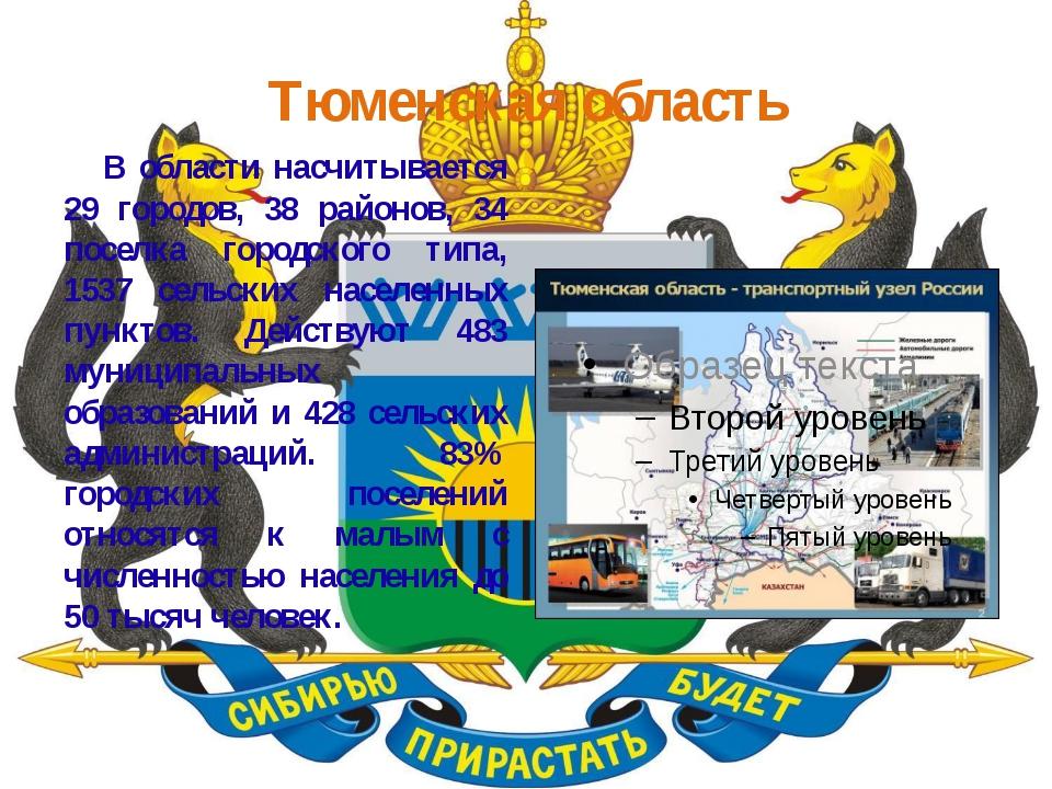 Тюменская область В области насчитывается 29 городов, 38 районов, 34 поселка...