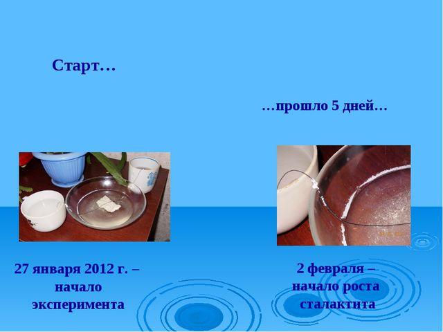 27 января 2012 г. – начало эксперимента 2 февраля – начало роста сталактита …...