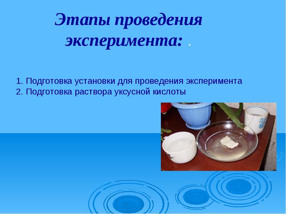 Этапы проведения эксперимента: . 1. Подготовка установки для проведения экспе...