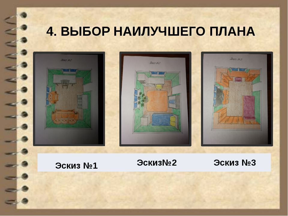 4. ВЫБОР НАИЛУЧШЕГО ПЛАНА Эскиз №1 Эскиз№2 Эскиз №3
