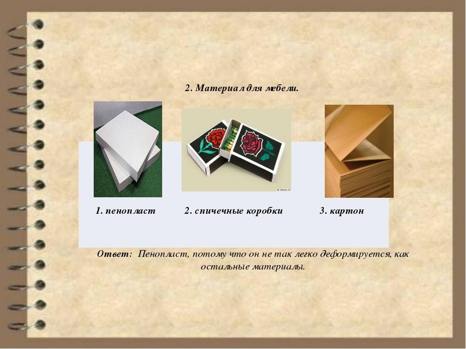 2. Материал для мебели. Ответ: Пенопласт, потому что он не так легко деформи...