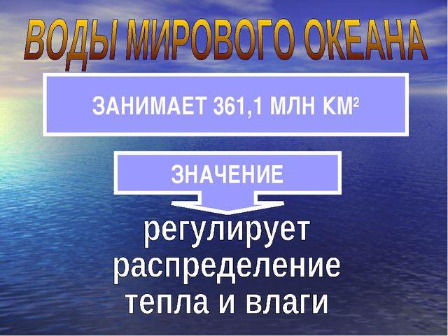 ЗНАЧЕНИЕ ЗАНИМАЕТ 361,1 МЛН КМ2