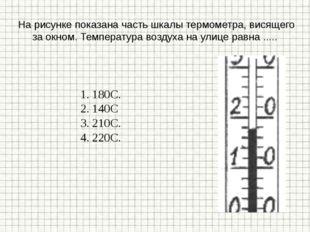На рисунке показана часть шкалы термометра, висящего за окном. Температура в