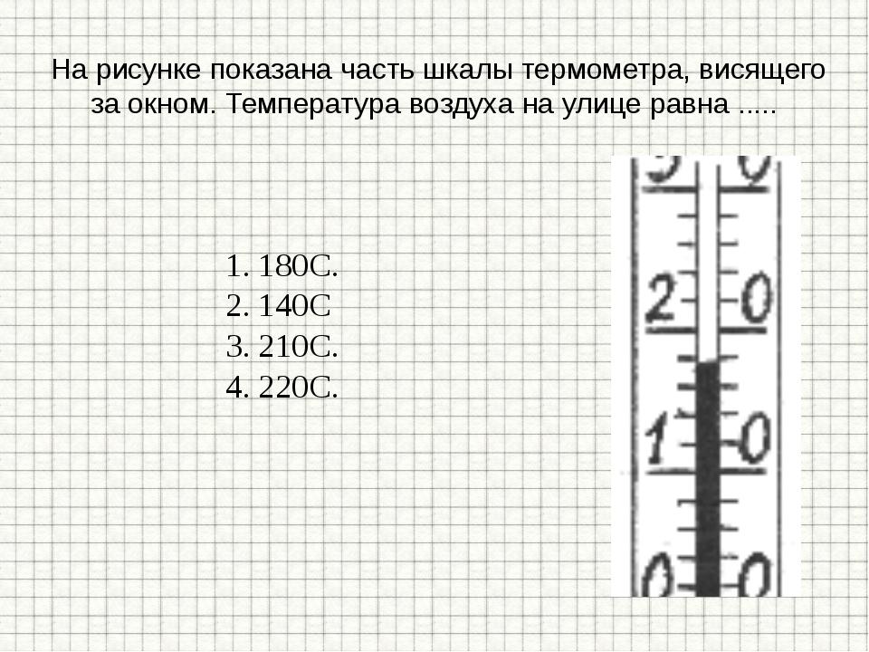 На рисунке показана часть шкалы термометра, висящего за окном. Температура в...