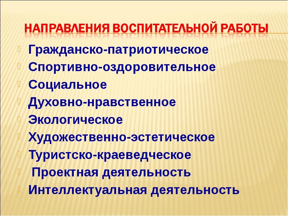 Гражданско-патриотическое Спортивно-оздоровительное Социальное Духовно-нравст...