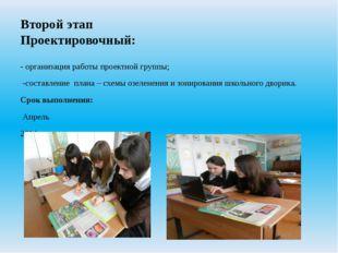 Второй этап Проектировочный: - организация работы проектной группы; -составле