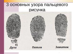 3 основных узора пальцевого рисунка