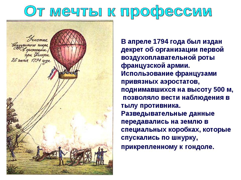 В апреле 1794 года был издан декрет об организации первой воздухоплавательной...