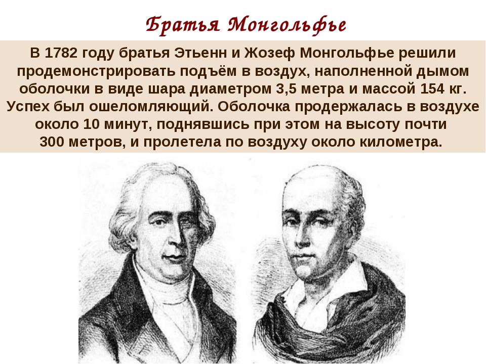 Братья Монгольфье В 1782 году братья Этьенн и Жозеф Монгольфье решили продемо...