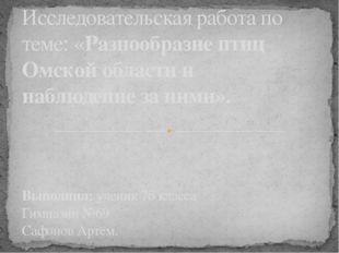 Исследовательская работа по теме: «Разнообразие птиц Омской области и наблюд