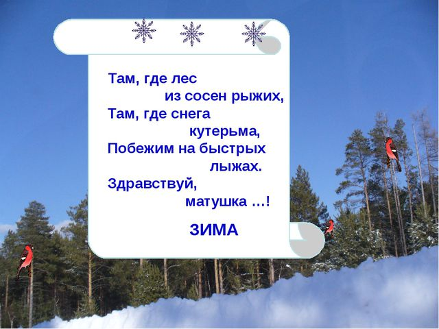 Там, где лес из сосен рыжих, Там, где снега кутерьма, Побежим на быстрых лыж...