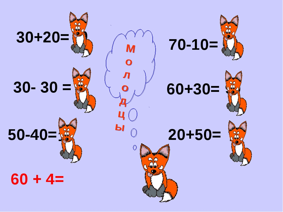 30+20= 30- 30 = 50-40= 70-10= 60+30= 20+50= 50 0 10 60 90 70 М о л о д ц ы 60...