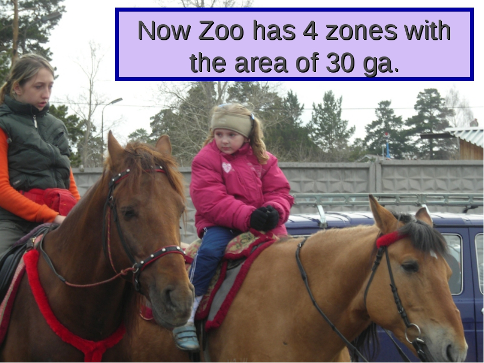 Now Zoo has 4 zones with the area of 30 ga.