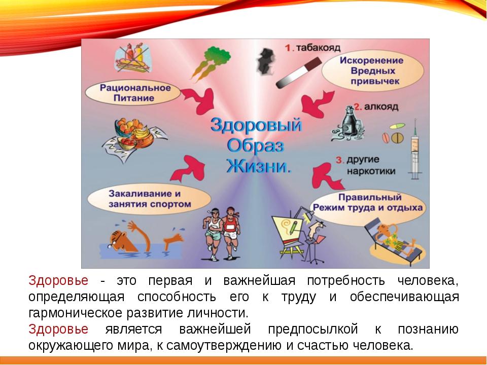 Здоровье - это первая и важнейшая потребность человека, определяющая способн...