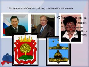 Руководители области, района, Никольского поселения