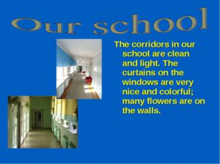 The corridors in our school are clean and light. The curtains on the windows