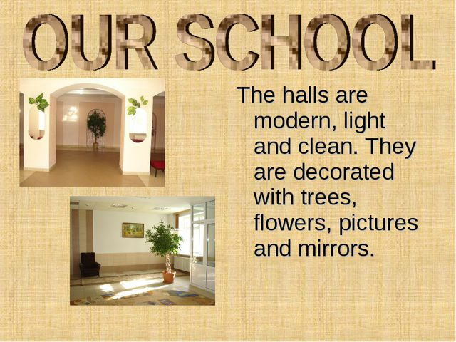 The halls are modern, light and clean. They are decorated with trees, flowers...