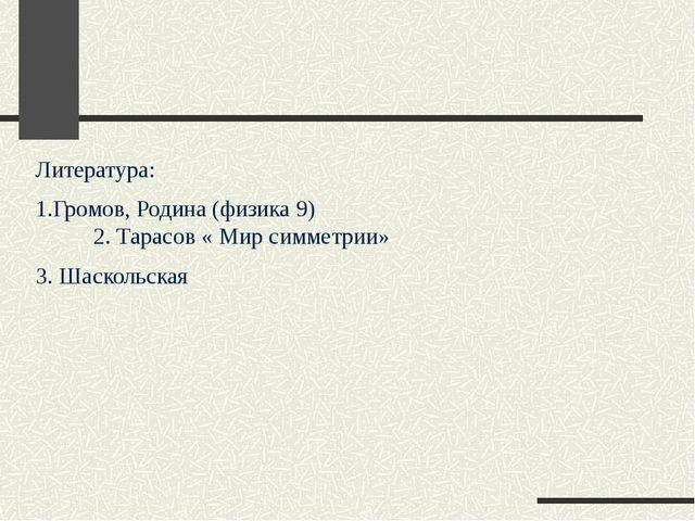 Литература: 1.Громов, Родина (физика 9) 2. Тарасов « Мир симметрии» 3. Шаскол...