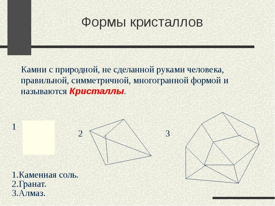 Формы кристаллов Камни с природной, не сделанной руками человека, правильной,...