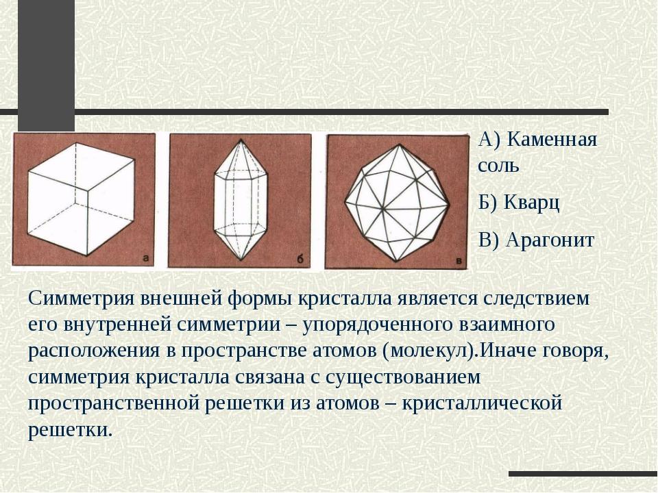 А) Каменная соль Б) Кварц В) Арагонит Симметрия внешней формы кристалла явля...