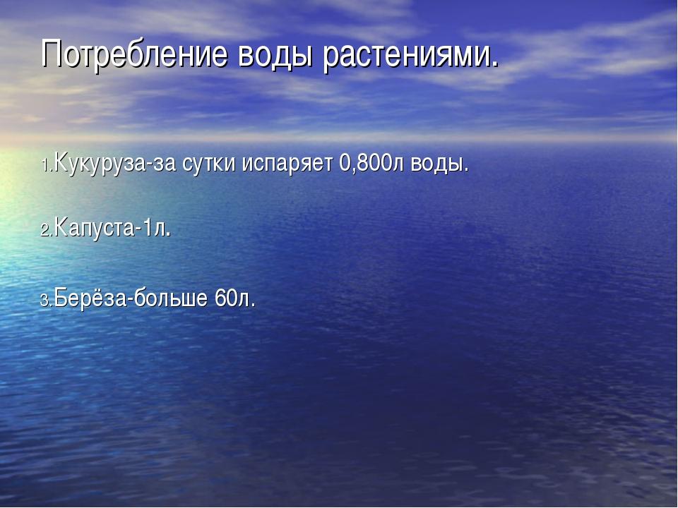 Потребление воды растениями. 1.Кукуруза-за сутки испаряет 0,800л воды. 2.Капу...