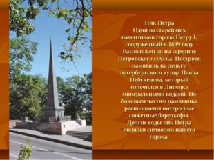 Пик Петра Один из старейших памятников города Петру I, сооруженный в 1839 год