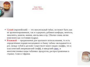 Существует два вида снаффа: Сухой(европейский)— это нюхательный табак; он