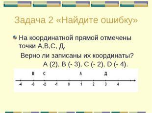 Задача 2 «Найдите ошибку» На координатной прямой отмечены точки А,В,С, Д. Вер