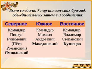 Было создано 7 партизанских бригад, объединённых затем в 3 соединени