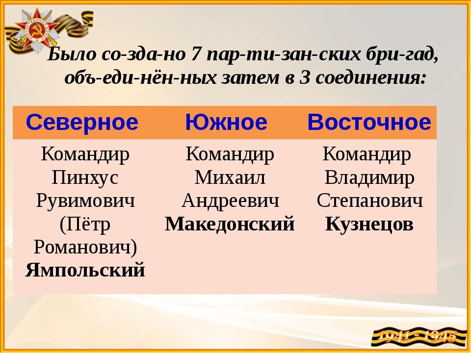 Было создано 7 партизанских бригад, объединённых затем в 3 соединени...