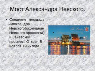 Мост Александра Невского. Соединяет площадь Александра Невского(окончание Нев