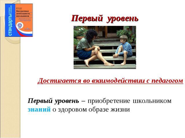 Первый уровень Первый уровень – приобретение школьником знаний о здоровом обр...