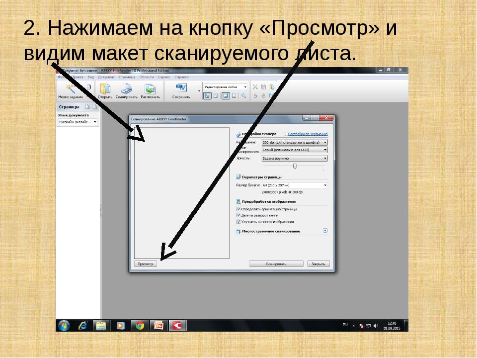 2. Нажимаем на кнопку «Просмотр» и видим макет сканируемого листа.