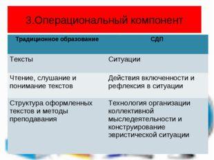 3.Операциональный компонент Традиционное образованиеСДП ТекстыСитуации Чтен