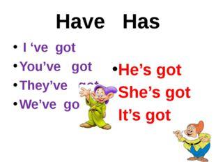 Have Has I 've got You've got They've got We've got He's got She's got It's