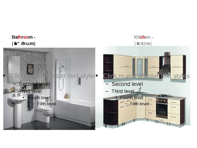 Bathroom- |ˈbɑːθruːm| Kitchen- |ˈkɪtʃɪn|