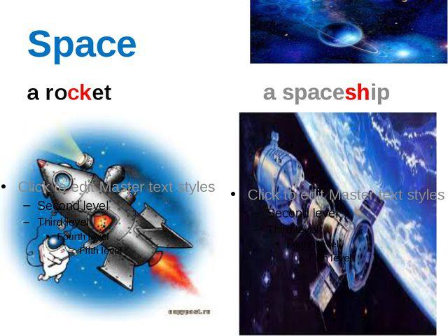 Space a rocket a spaceship