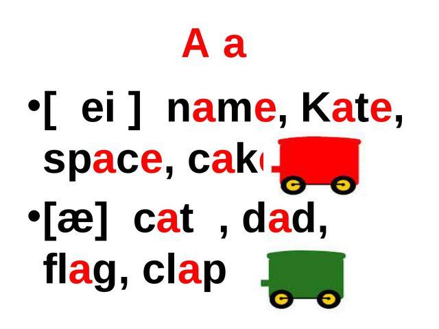А a [ ei ] name, Kate, space, cake [æ] cat , dad, flag, сlap