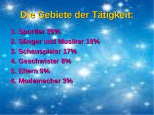 Die Gebiete der Tätigkeit: 1. Sportler 39% 2. Sänger und Musiker 18% 3. Schau