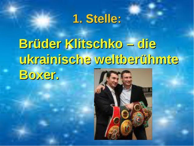 1. Stelle: Brüder Klitschko – die ukrainische weltberühmte Boxer.