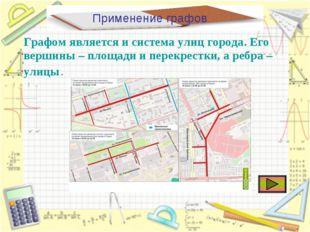 Применение графов Графом является и система улиц города. Его вершины – площад