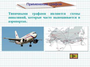 Применение графов Типичными графами являются схемы авиалиний, которые часто в