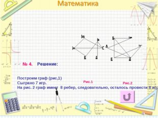 Построим граф (рис,1) Сыграно 7 игр. На рис. 2 граф имеет 8 ребер, следовател