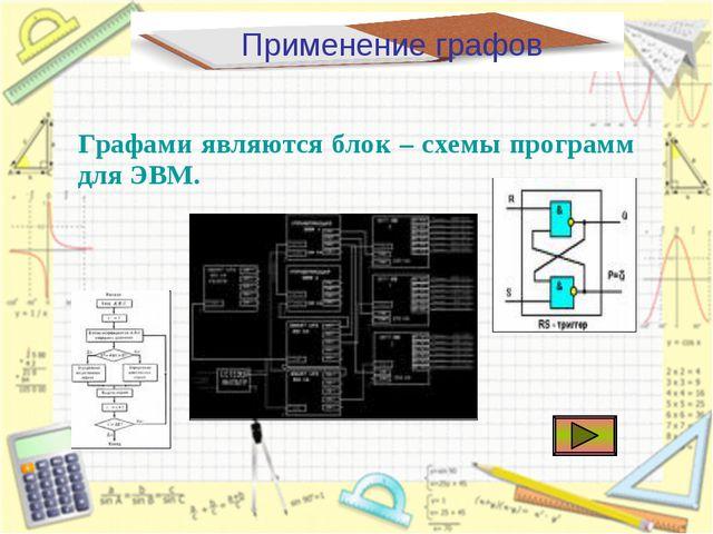 Применение графов Графами являются блок – схемы программ для ЭВМ.